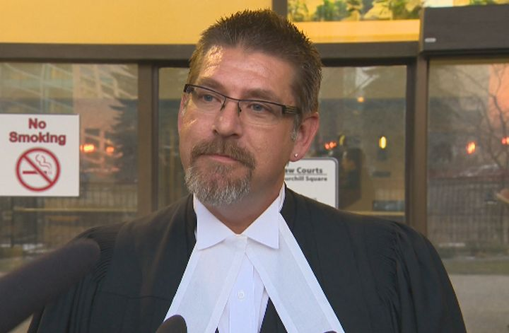 Lawyer Paul Moreau speaks to the media outside the Edmonton Law Courts Thursday, Jan. 30, 2014.