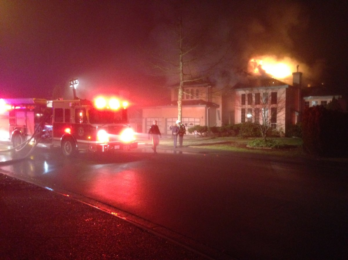 A fire at a home in Surrey on Jan. 17, 2014.