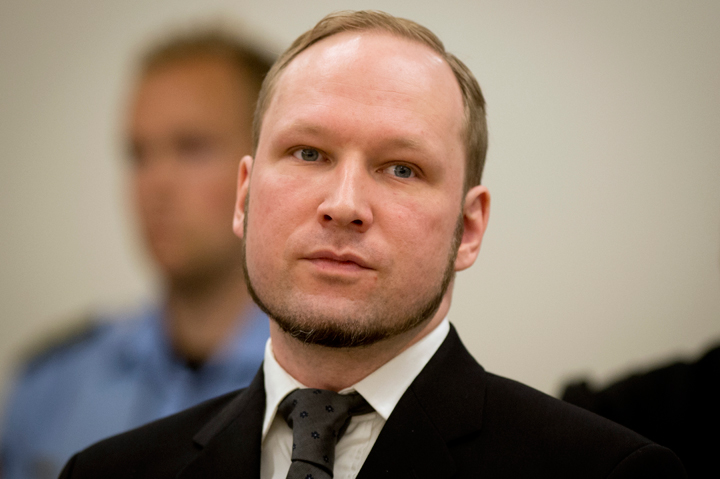A picture taken on August 24, 2012 shows self-confessed mass murderer Anders Behring Breivik arriving in court room 250 at the central court Oslo.