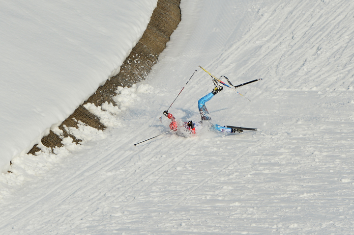 Russia's Anton Gafarov reacts falls in the Men's Cross-Country Skiing Individual Sprint Free Semifinals at the Laura Cross-Country Ski and Biathlon Center during the Sochi Winter Olympics on February 11, 2014 in Rosa Khutor near Sochi.