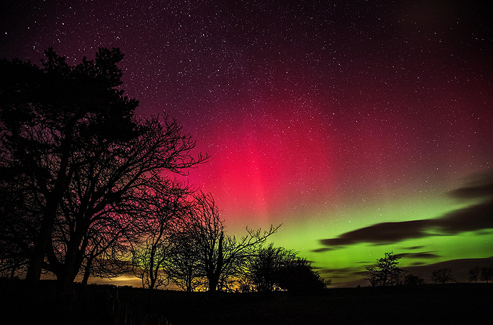 The northern lights seen from a garden in Cumbria, Britain on Feb. 27, 2014.