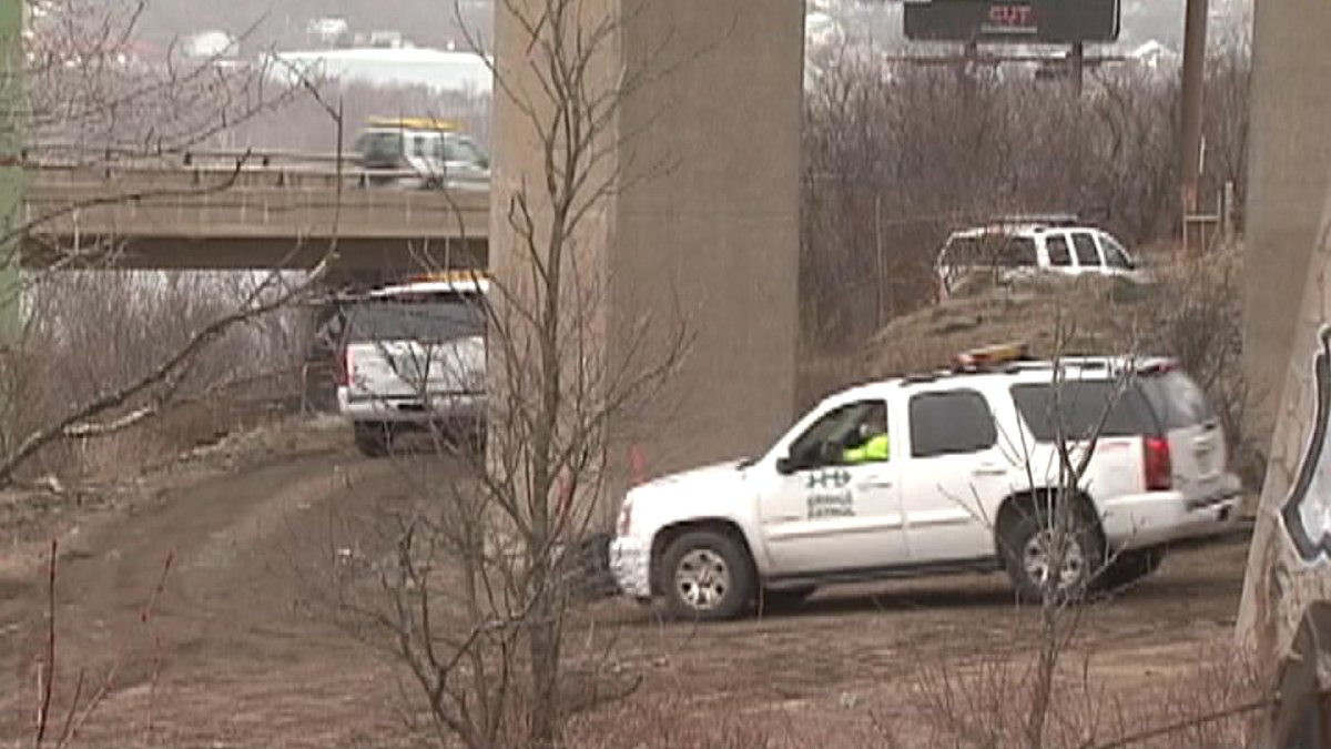 Officials search under Halifax's McKay Bridge following Holly Bartlett's fall on March 27, 2010.