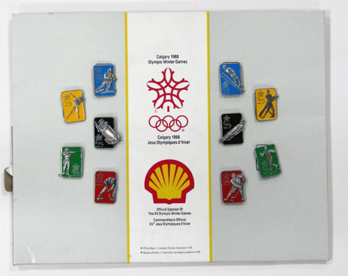The 1988 Winter Olympics pin collection from Shell Canada: Vintage Canadiana to the right buyer.