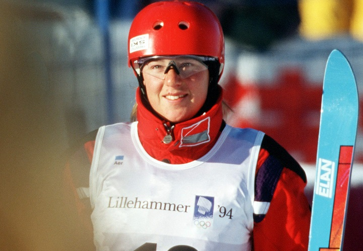 Canada's Caroline Olivier participates in the women's freestyle ski aerials event at the 1994 Lillehammer Winter Olympics.
