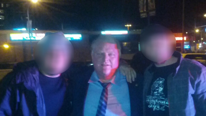 A picture taken of Rob Ford outside a Shell gas station in Metro Vancouver, where he was ticketed by RCMP for jaywalking.