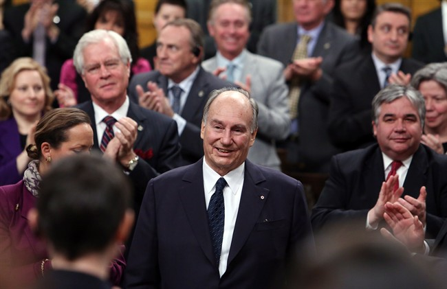 The Aga Khan, spiritual leader of the world's 15-million Shia Ismaili Muslims, receives a standing ovation from the House of Commons, on Parliament Hill in Ottawa, Thursday February 27, 2014.