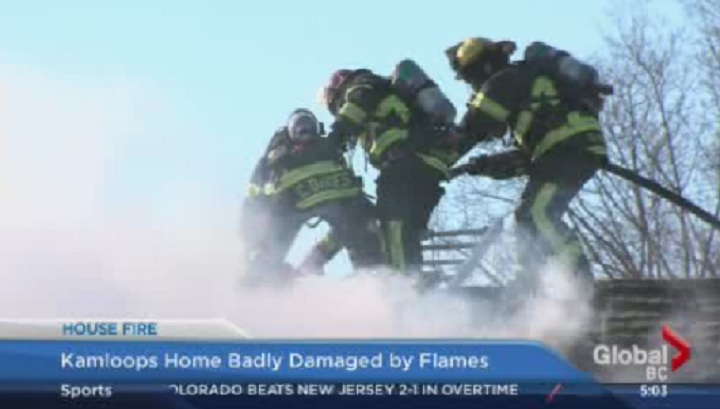 Fire broke out at a home in Kamloops on February 3, 2014.