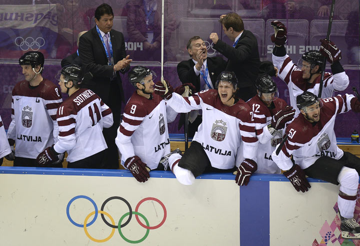 Latvia stuns Switzerland, winning 3-1 in men's Olympic hockey