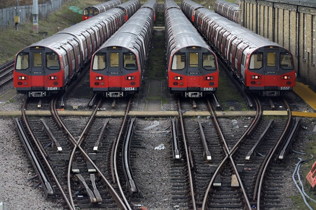 London Underground trains are shown in this file photo.