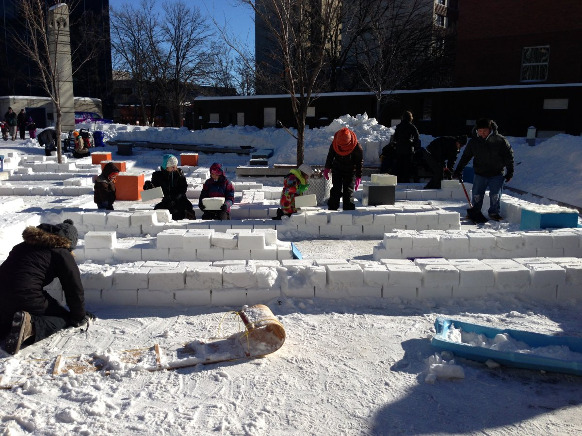 Winnipeggers helped build the city's first downtown snow maze on Saturday.