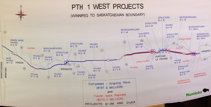 A map shows the improvements being made to the Trans-Canada Highway between Winnipeg and the Saskatchewan border.