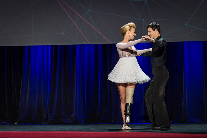 Adrianne Haslet-Davis dances on the TED Talks stage in Vancouver.