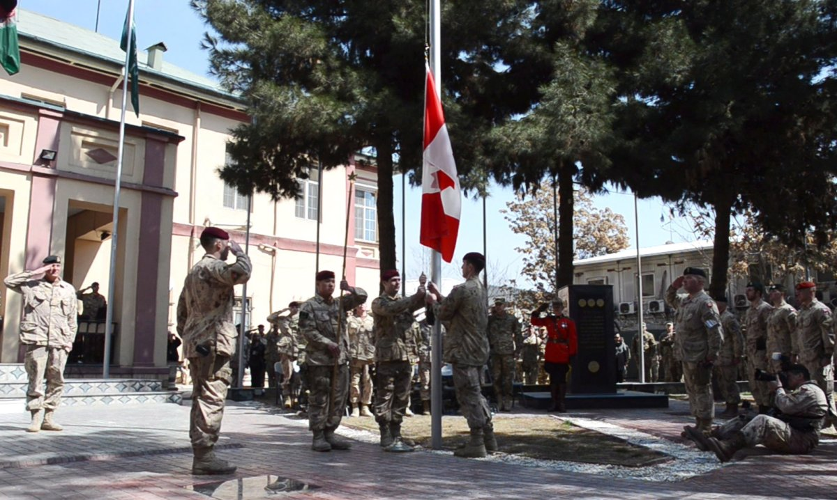 The army has hauled down the Canadian flag for the last time in Kabul, Afghanistan on Wednesday March 12, 2014, bringing an end to 12 years of military involvement in a campaign that cost the lives of 158 soldiers. THE CANADIAN PRESS/Murray Brewster.