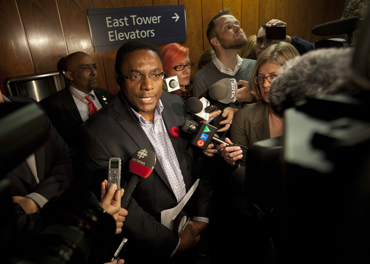 Toronto City Councillor Michael Thompson answers questions from the media at City Hall in Toronto on November 04, 2013.