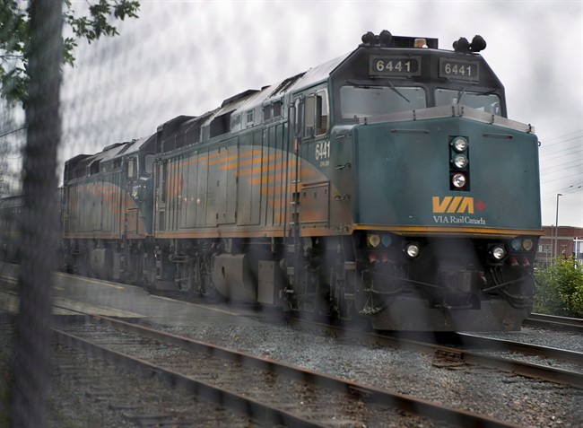 A Via Rail train sits in the yard in Halifax on June 13, 2013.