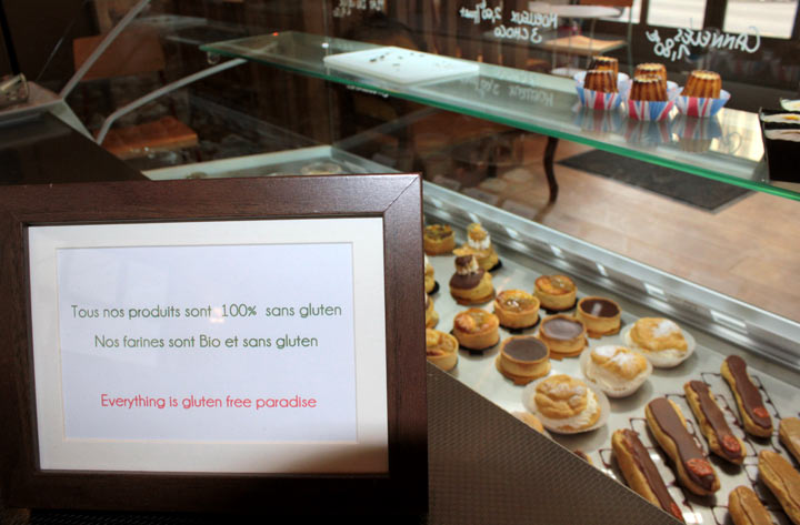Gluten-free pastries are displayed in a specialized patisserie, on March 8, 2012 in Paris. The intolerance to gluten -- a protein found in cereals such as wheat -- can cause chronic diarrhoea and vomiting.