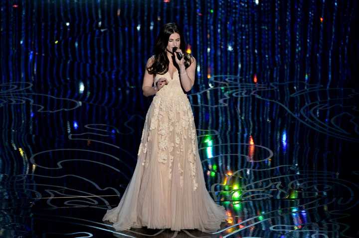 """Idina Menzel performs """"Let It Go"""" at the Academy Awards on March 2, 2014."""