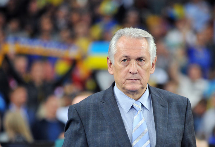 Ukraine head coach Mykhailo Fomenko reacts on September 10, 2013 during a 2014 FIFA World Cup, group H, qualifying football match against England in Kyiv.