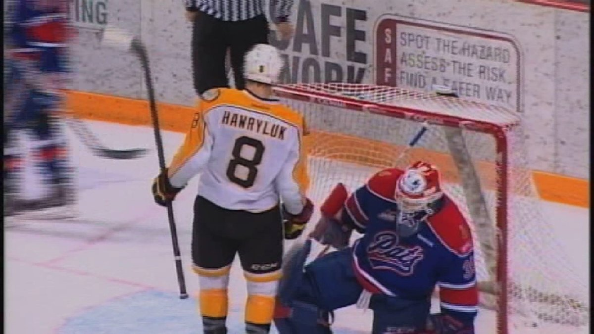 Jayce Hawryluk had a hat trick - including the winner - and added an assist as the Wheat Kings edged Regina to take a 3-0 series lead.