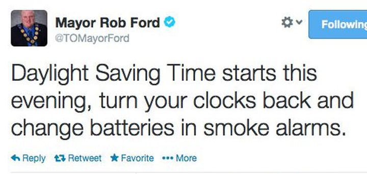This tweet urging the public to turn clocks back for Daylight Savings Time was deleted and replaced Saturday night.