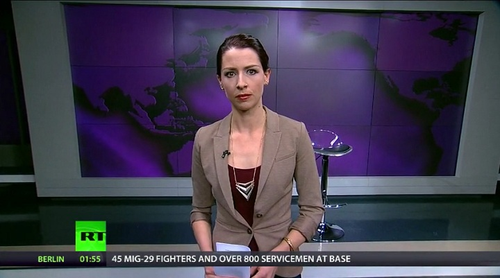 Russia Today America host Abby Martin used the end of her Monday night broadcast to slam the Russian military intervention in Crimea.