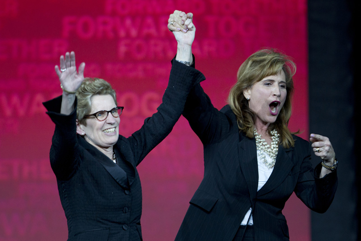 Kathleen Wynne along with Sandra Pupatello at the Ontario Liberal leadership convention
