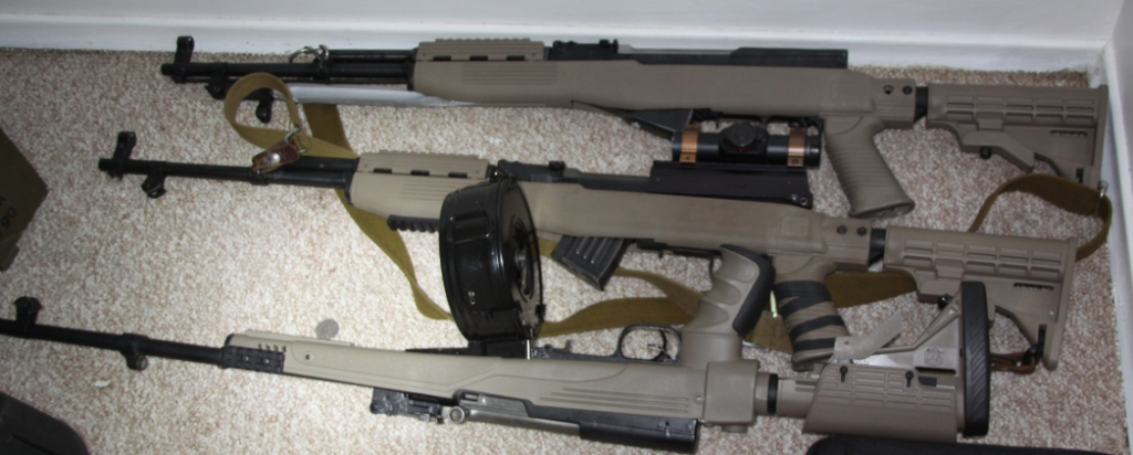 Three SKS semi-automatic military-style rifles the Combined Forces Special Enforcement Unit seized in Prince George last week in their raid.