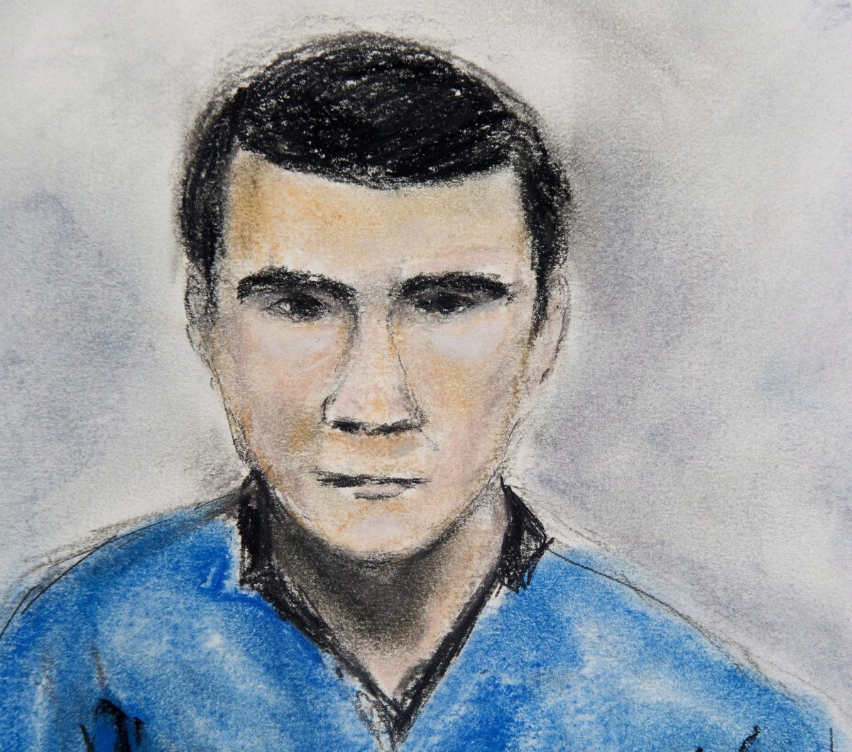 A sketch of Matthew de Grood, appearing in a Calgary court on Tuesday April 22, 2014, by artist Janice Fletcher, is shown.