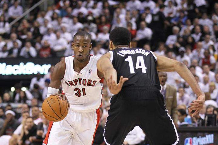Terrence Ross #31 of the Toronto Raptors drives against Shaun Livingston #14 of the Brooklyn Nets in Game Two of the NBA Eastern Conference Quarterfinals