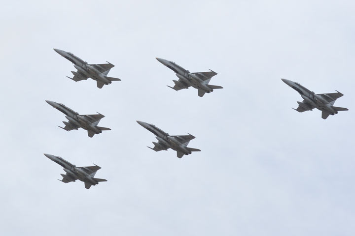The CF-18 fighter jets leaving Bagotville, Quebec for Europe on April 29, 2014 to aid in the Ukraine crisis.
