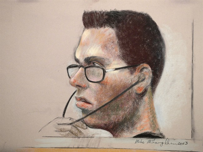 Luka Magnotta is shown in an artist's sketch in a Montreal court on March 13, 2013.
