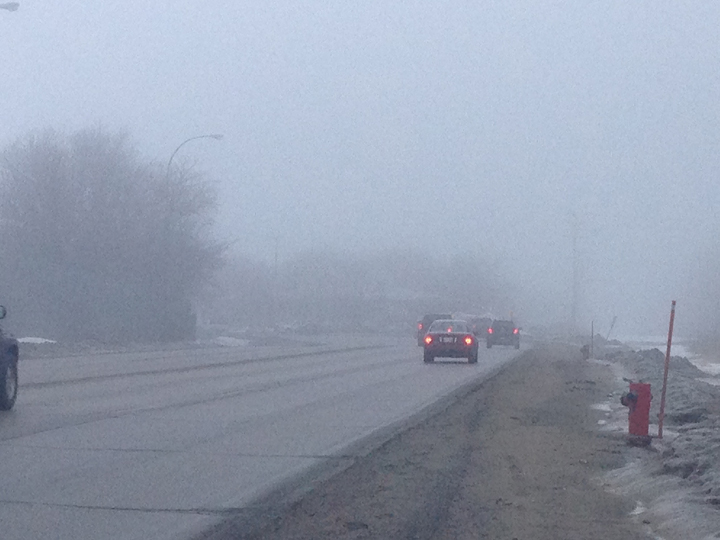 Freezing drizzle and fog are causing slippery roads and affecting visibility in Winnipeg.