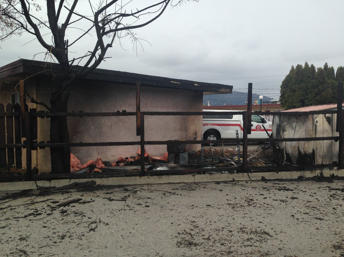 A small blaze took place at the back of the Swiss Sunset Inn in Penticton.