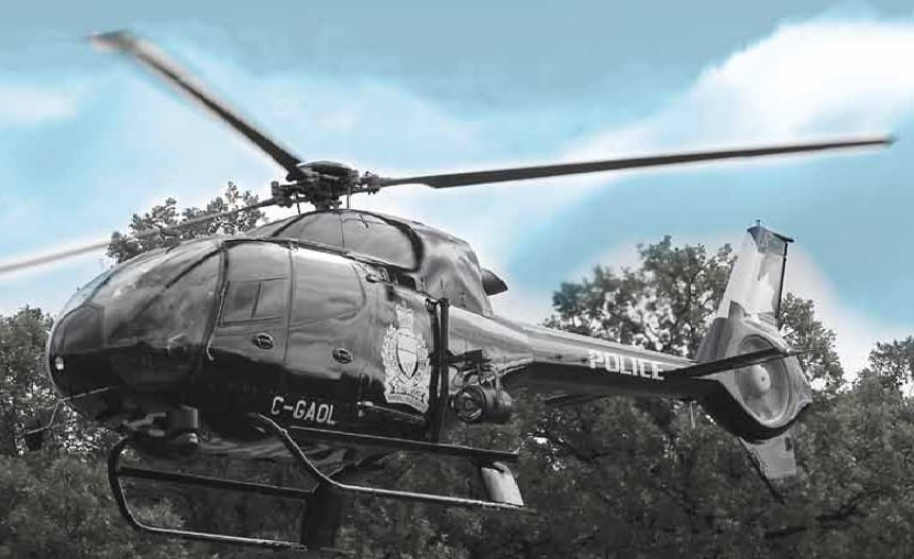 Police were able to use their helicopter to stop catch two suspects who took off from a routine traffic stop early Monday.