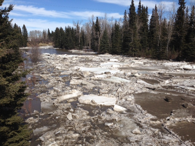 An ice jam in the Little Red Deer River from April 11, 2014.