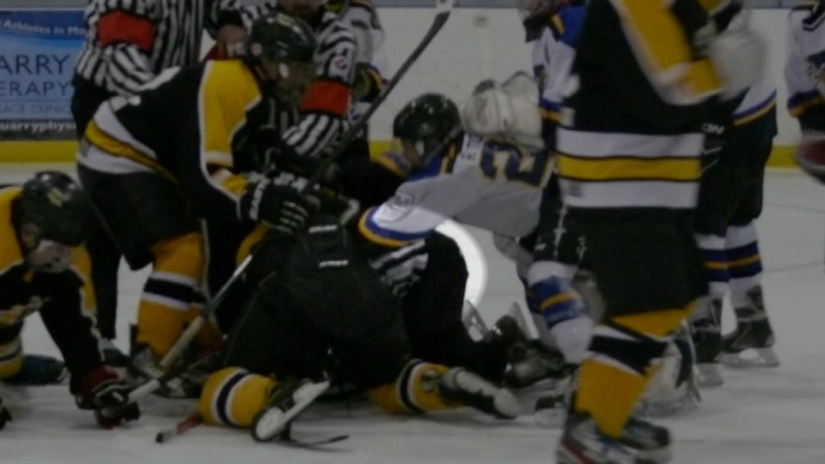 A championship game between teams of 13- and 14-year-old players in Stonewall, Man., ended when a brawl broke out and RCMP were called.