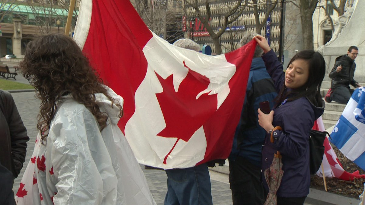 A small group celebrated Canadian unity in Dorchester Square Sunday.