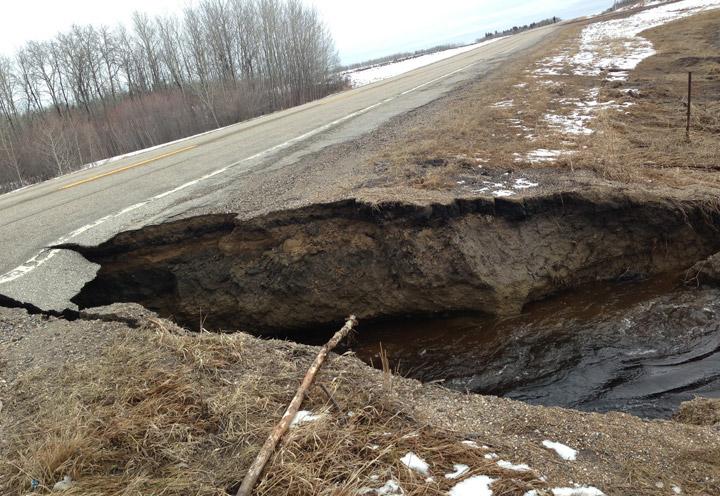 Highway closed Tuesday due to spring runoff near Snowden, Saskatchewan.