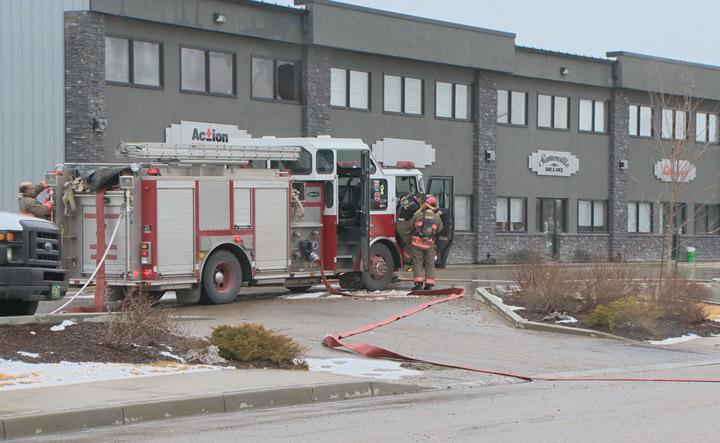 Fire crews extinguish blaze at a Saskatoon strip mall on Sunday afternoon.