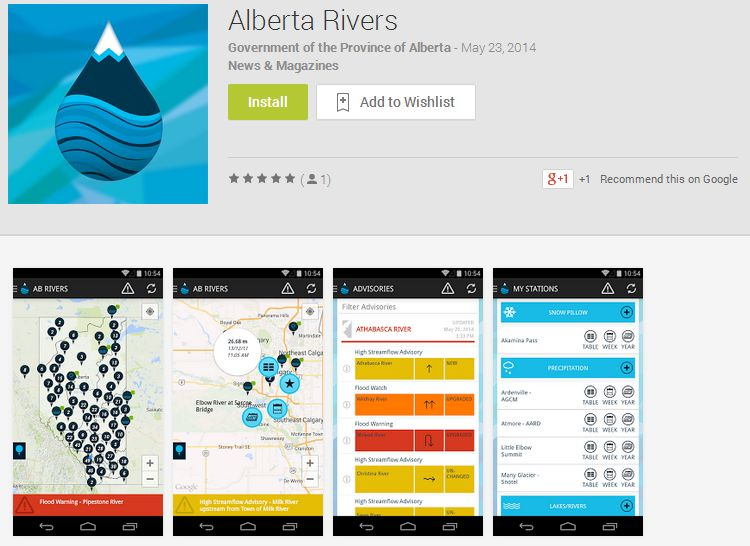 The Alberta Rivers app, released on May 26, 2014.