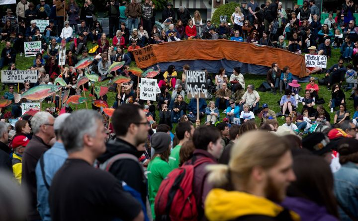 Protesters demonstrate against the Northern Gateway Pipeline in Vancouver, Saturday, May 10, 2014.
