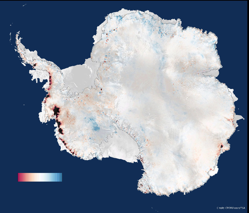 Three years of measurements from CryoSat-2 show that the Antarctic Ice Sheet is now losing 159 Gigatons of ice each year, enough to raise global sea levels by 0.45 millimetres per year. Colour scale ranges from -1 to +1 metres per year.