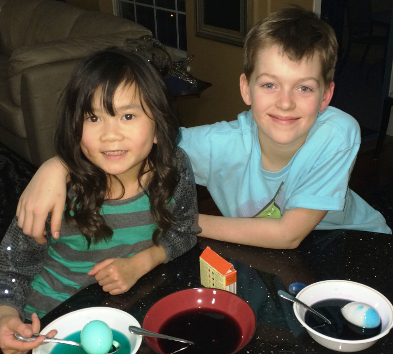 Ten-year-old Beckett Lawson with his sister.