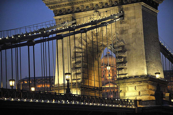 This photo, taken on February 8, 2010, shows Hungary's oldest bridge, the Chain Bridge (Lanchid), over the Danube River in downtown Budapest.
