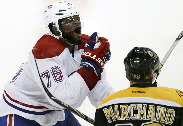 Montreal Canadiens defenseman P.K. Subban (76) reacts after getting hit in the face by Boston Bruins left wing Brad Marchand's stick during the second period of Game 1 in a second-round of a Stanley Cup playoff series in Boston, Thursday, May 1, 2014.