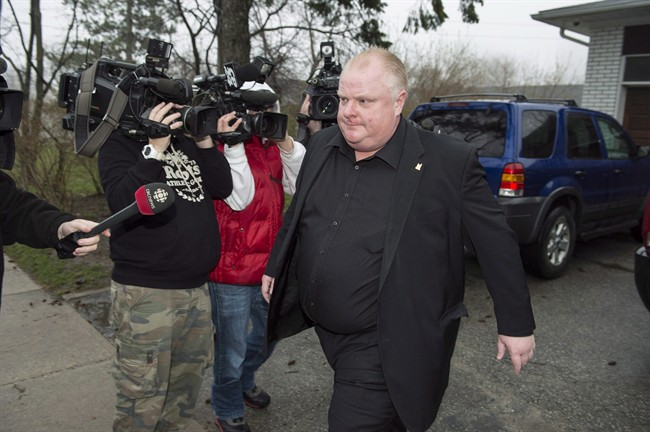 Toronto Mayor Rob Ford leave his home early Thursday May 1, 2014.