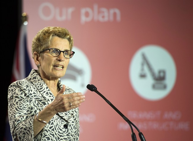 Ontario Liberal leader Kathleen Wynne releases the party platform in Thunder Bay, Ontario on Sunday May 25, 2014.
