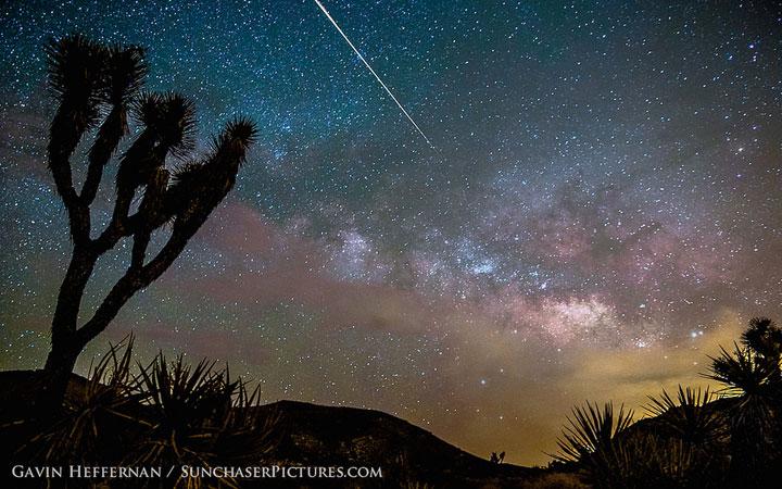 A Camelopardalid meteor over Joshua Tree, California.