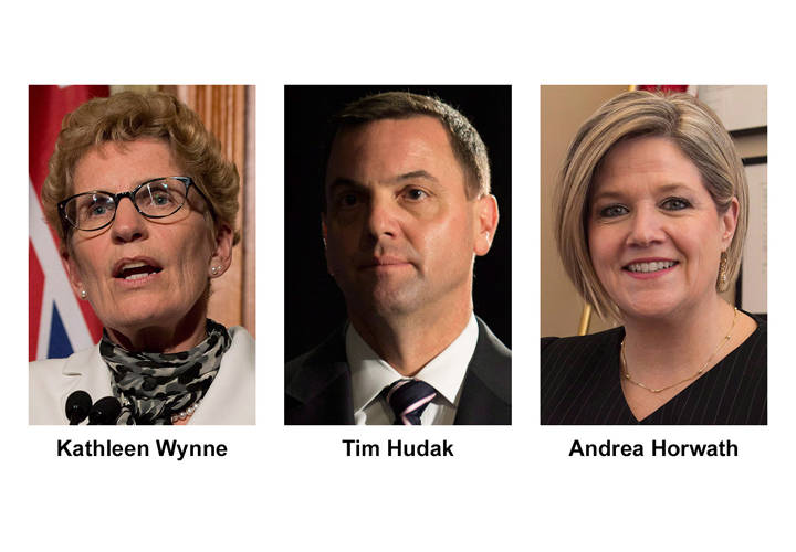 Ontario party leader, from left, Liberal Kathleen Wynne, Conservative Tim Hudak and NDP Andrea Horwath, are shown in recent photos.