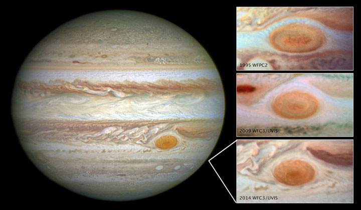 Images of Jupiter's Great Red Spot, taken by the Hubble Space Telescope over a span of 20 years, shows how the planet's trademark spot has decreased in size over the years.